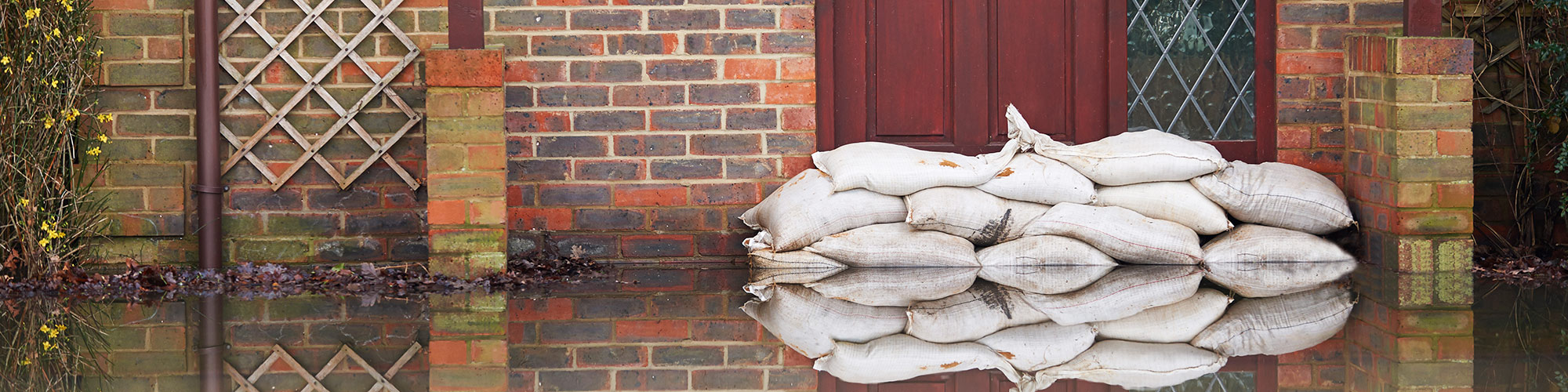 Flood waters and sandbags