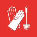 Gloves and brush icons